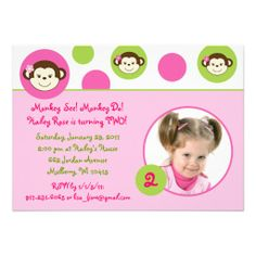 Mod Girl Monkey Pink Green Birthday Invitations