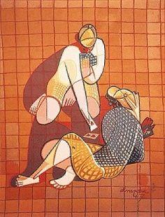 Tapestry - Jose de Almada-Negreiros Henri De Toulouse Lautrec, Gustav Klimt, Types Of Drawing, Art Database, Cubism, Paint Designs, Art Deco Fashion, Art Forms, Pop Art