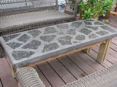 Household Products - broken granite shards - mosaic tile bench