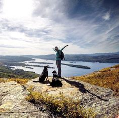 Hiking's always better when you're with friends who get as excited as you do. (Photo via Instagram: laducb) #LLBeanMoment #hiking #Adirondacks #dogs