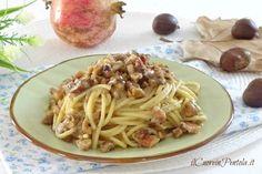 Pasta con castagne e speck http://www.ilcuoreinpentola.it/ricette/pasta-con-castagne-e-speck/