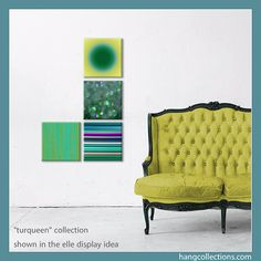 Modern art with traditional sofa. Read more on our blog http://hangcollections.com/blogs/news/15197945-coordinating-art-with-your-furniture