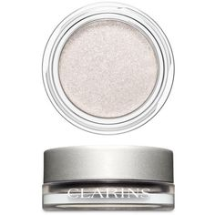 Clarins 08 Silver White Ombr233 Iridescent Cream-To-Powder Eyeshadow ($25) ❤ liked on Polyvore featuring beauty products, makeup, eye makeup, eyeshadow, clarins, clarins eyeshadow and clarins eye shadow