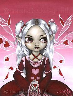 Art: Waiting for My Valentine by Artist Jasmine Ann Becket-Griffith Gothic Artwork, Fairy Wallpaper, Unicorns And Mermaids, Fairy Pictures, Gothic Fairy, Eye Art, Fairy Art, Fairy Dolls, Art Portfolio