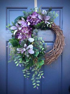 Hydrangea Wreath Spring Door Wreaths Purple by WreathsByRebeccaB Spring Door Wreaths, Diy Fall Wreath, Easter Wreaths, Summer Wreath, Wreaths For Front Door, Christmas Wreaths, Wreath Ideas, Front Doors, Corona Floral