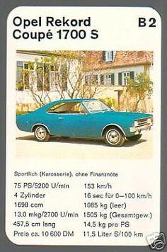 Opel Rekord 1700 S Coupé Top Trumps, Cars And Motorcycles, Vans, Concept, Board, Vintage, Autos, Card Games, Cutaway