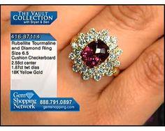 2.58ct Rubellite Tourmaline Checkerboard Cushion & 1.87ctwt  Diamond Round 18K Yellow Gold Ring, Size 6.5