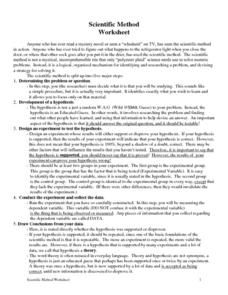 Scientific Method Worksheet Worksheet