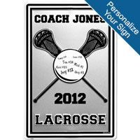 Personalized Lacrosse COACH Stick and Ball Aluminum Room Sign