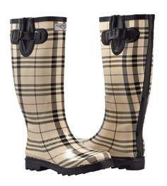 Amazon.com: Women's Flat Wellies Rubber Rain & Snow Rain Boots (Checker Plaid): Shoes