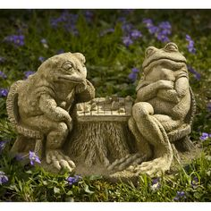 Campania International Checkmate Frogs Cast Stone Garden Statue | from hayneedle.com