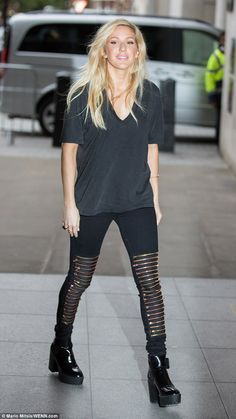 Edgy:Ellie Goulding spotted outside Radio 1's Broadcasting House on Friday, sporting a ra...