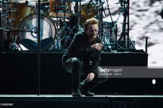 Bono from U2 performs at Stade de France on July 26, 2017 in Paris, France.