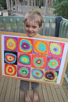 in all honesty: kid's art projects: Kandinsky circles in squares Group Art Projects, Collaborative Art Projects, Preschool Art Projects, Auction Projects, Auction Ideas, School Projects, Kandinsky Art, School Auction, Kindergarten Art