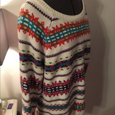 Old Navy Colorful Sweater Warm and cozy sweater from Old Navy. XL. White with stripes of many colors and patterns. Only worn once! Like new! Old Navy Sweaters