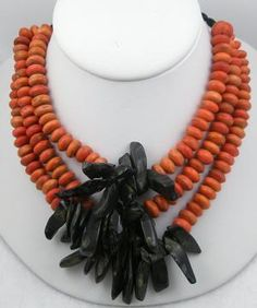 Vintage Orange Bead & Golden Obsidian Tribal Necklace - Garden Party Collection Vintage Jewelry