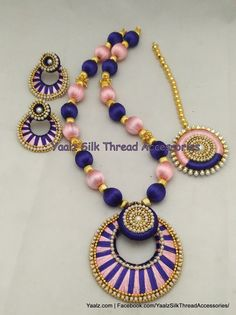Price For Orders Ping us In Whatsapp at 91 8754032250 We Ship to All Countries Silk Thread Necklace, Beaded Necklace Patterns, Jewelry Patterns, Silk Thread Bangles, Thread Jewellery, Thread Chains, Terracota Jewellery, Traditional Indian Jewellery, Countries