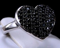 1.45ct Genuine Black Spinel Heart Design 925 Solid Sterling Silver Ring.  Visit my eBay store for more beautiful genuine gemstone jewelry!  http://stores.ebay.com/hm-fine-jewelry-and-more  #BlackSpinel   #spinel   #jewelry   #finejewelry   #gemstonejewelry   #style   #fashion   #glamour   #rings