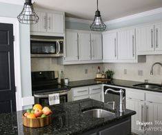 LOVE THIS! Totally genius to use Formica Laminate as a backsplash. No grout to clean. Plus, it's a fresh, modern look! Full details from Designer Trapped in a Lawyer's Blody. #homechichome #ad