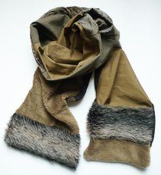 Echarpe foulard etole tour de cou Automne Hiver Fourrure Kaki Marron Noir  accessoire de mode pour 3e652a24498