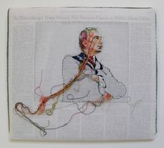 Embroidered Portrait on Newspaper -Lauren Dicioccio