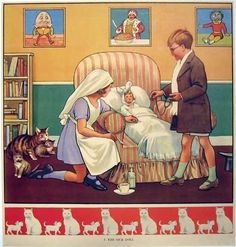 1930's British Antique Doll Original Vintage Children's Poster