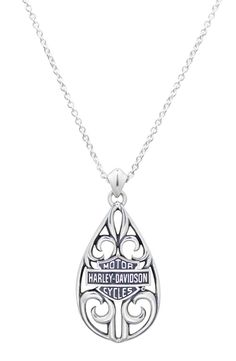 Harley-Davidson Womens Vintage Rebel Filigree Teardrop Necklace HDN0239