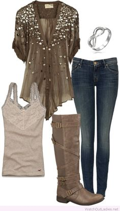 Perfect brown shirt with glitter