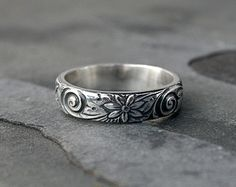 Sterling Silver Etched Ring Band Embossed Stacking by KiraFerrer