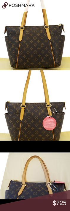 "Auth Louis Vuitton Monogram Totally PM Handbag Authentic LOUIS VUITTON Totally PM brown and tan monogram coated canvas with brass hardware, tan vachetta leather trim, dual flat shoulder straps, exterior slip pockets at sides, brown canvas lining, dual pockets at interior wall and zip closure at top.  Shoulder Strap Drop: 9"" Height: 9"" Depth: 7"" Width: 13.5"" Estimated Retail: $1,270 Condition: Very Good. Minor surface scratches at hardware; light residue and marks at interior. Louis Vuitton…"