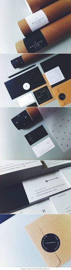 logo corporate branding visual graphic identity kraft paper design business card label black white print