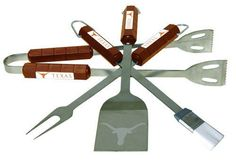 College BBQ Set - Texas Longhorns by Siskiyou. $43.00. The College BBQ set includes Spatula, Tongs, Fork, and Basting Brush with the team emblem on the colored handles of this 4 piece set. Topping it off with the logo laser etched on the blade of the spatula. Min. quantity 6 of any BBQ utensil set style.