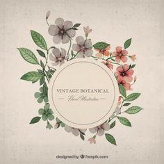 Floral Frame Vectors, Photos and PSD files Botanical Art, Botanical Illustration, Floral Watercolor, Watercolor Paintings, Logo Fleur, Vector Design, Logo Design, Brand Design, Webdesign Inspiration