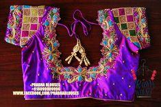Pattu Saree Blouse Designs, Saree Blouse Patterns, Designer Blouse Patterns, Bridal Blouse Designs, Indian Silk Sarees, Peacock Colors, Work Blouse, Embroidered Blouse, Embroidery Designs
