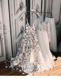 A-line Princess V-neck Floral Prom Dresses Long Appliqued Lace Formal Dresses Floral Prom Dress Long, V Neck Prom Dresses, Cute Dresses, Vintage Dresses, Beautiful Dresses, Evening Dresses, Formal Dresses, Maxi Dresses, Beautiful Dream