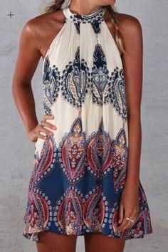 Ethnic Round Neck Sleeveless Printed Dress For Women Print Dresses | RoseGal.com Mobile