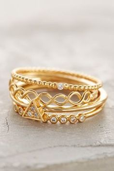Anthropologie Janina Stacked Rings