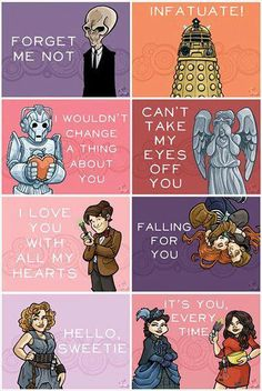 Doctor Who Valentines! Someone gave me one of these before I'd watched DW, and I was thoroughly perplexed.