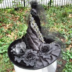 Halloween Victorian Witch Hat Custom Gothic Design This lovely is ready to ship today! The crown is covered in vintage satin and
