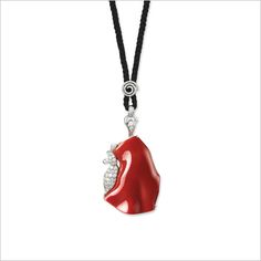 CORAL AND DIAMOND PENDENT NECKLACE