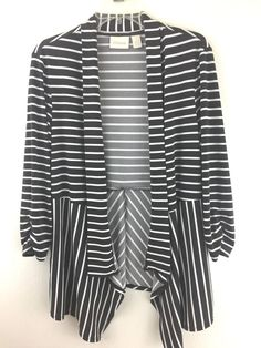 0e7c75cd001121 Chicos 1 Jacket Top Brown Striped Open Cardigan Ruched Sleeve Stretchy S M  8 10 #Chicos