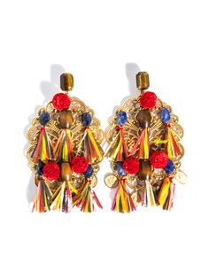 D Raffia and lace clip-on earrings