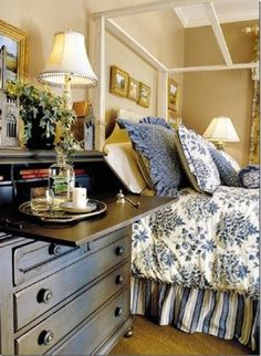 Country Bedroom Decor - Our Southern Home Favorite Pins Friday Bedroom Inspirations French Bedroom Decor, French Country Bedrooms, French Country House, Blue Bedroom, Home Decor Bedroom, Bedroom Ideas, Pretty Bedroom, Cozy Bedroom, Master Bedroom