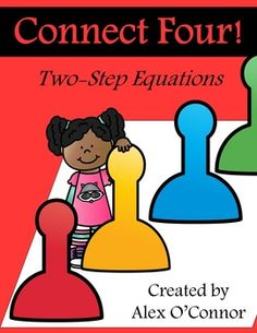 Connect Four: Two-Step Equations is for math in the upper elementary and middle school grades. Students must solve two-step equations and connect four spaces in a row on their game board. Great for small groups and math centers! This game focuses entirely on solving two-step equations.