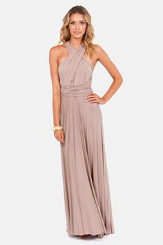 Convertible maxi dress in taupe - style in 6 different ways! $68 at Lulu's