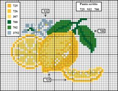 limoni Cross Stitch Fruit, Cross Stitch Kitchen, Cross Stitch Cards, Cross Stitch Borders, Cross Stitch Designs, Cross Stitching, Cross Stitch Embroidery, Counted Cross Stitch Patterns, Needlepoint