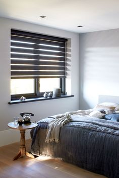 Enriching life in your home, your way Interior Windows, Bedroom Windows, Gray Interior, Blinds For Windows, Curtains With Blinds, Best Interior, Interior Design, Wood Blinds, Home Bedroom