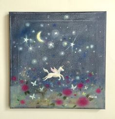 """Perfect for a nursery. """"Butterfly Moon"""" painting by JAustiRyan on #etsy"""