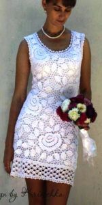 """Платье """"Прелесть белых роз"""", крючком"""