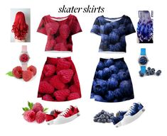 """""""Skater Girl: Summer Fruit"""" by erikakaisersot ❤ liked on Polyvore featuring May28th, skaterSkirts, zazzle and paom"""